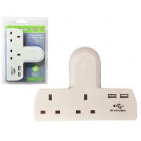 Pifco ELA1153 2 Way Adapter with 2 USB Charging Ports