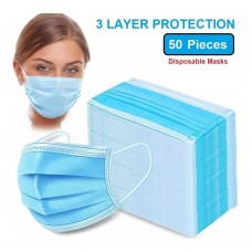 50 Disposable Masks 3 Ply (Bulk Packed)