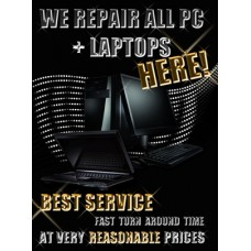 Pc Laptop Repair Poster Laminated 17 x 23 New Design