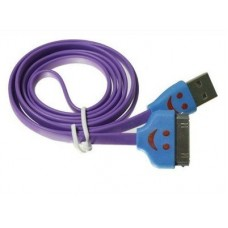 iPhone 4 4s Smiley Face Flat USB Cable Purple