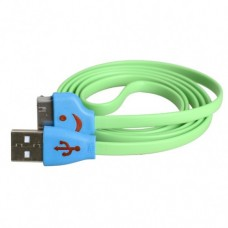iPhone 4 4s Smiley Face Flat USB Cable Green